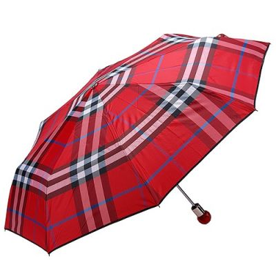 Burberry Trafalgar Portable Red Patterns 3-Sections Telescoping Shaft Gemtone Handle Burberry Logo Check Folding Umbrella