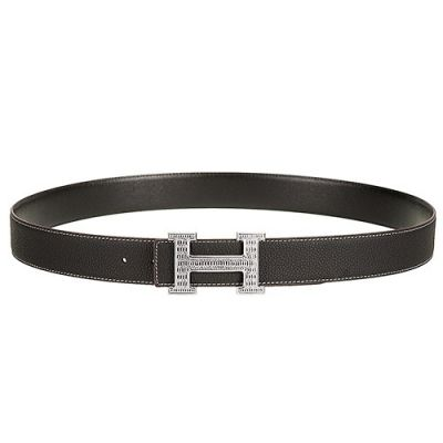 Unisex Good Quality Hermes Silver H Pin Buckle Brown Textured-leather Belt For Casual Wear