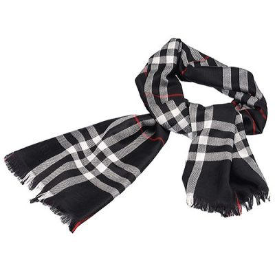 Burberry Black & Red Plaid Lightweight Wool And Silk Scarf Fashion Design For Lady Sale Online