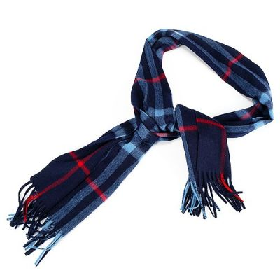 Burberry Wool Blue Check Cozy Warm Oblong Classic Scarf Winter Valentine Gift Unisex