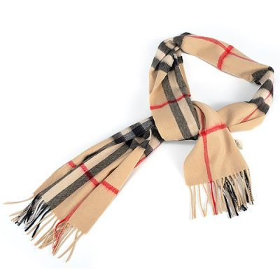 Burberry Cashmere Camel Grid Scarf Wrap Shawl For Women Winter Fall Christmas Gift