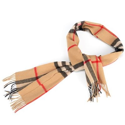 Burberry Cashmere Tan Checked Warm Classic Tassels Women Scarf Winter Birthday Gift Sale Online 40731221