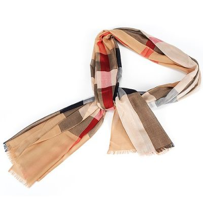Burberry Camel Soft Lightweight Oblong Checked Wool And Silk Scarf Wrap Shawl Ladies Outlet UK