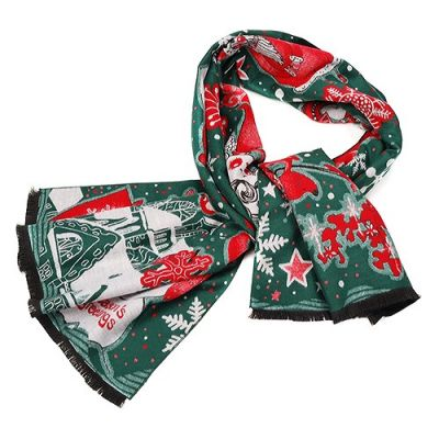 Hermes Santa Bold Print Green Red Both-Side Colored Wool-Silk Women Scarf Christmas Day