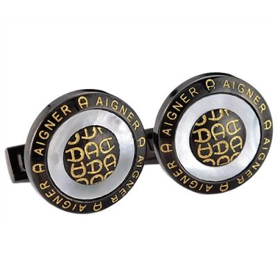 Best Replica Aigner Trendy Style Round Golden Logo Black Cufflinks For Gathering Occasions