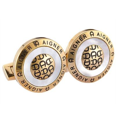 Aigner Most Popular Round Black Logo Romantic Gold Cufflinks With Crystal Glass For Men