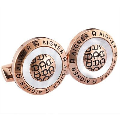 2017 Christmas Gift Aigner Round Carved A Logo Office Style Rose Gold Men's Cufflinks