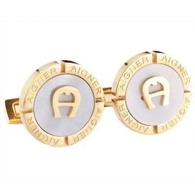 Best Quality Replica Men's Aigner Fashionable Round White And Gold Carved Logo Cufflinks