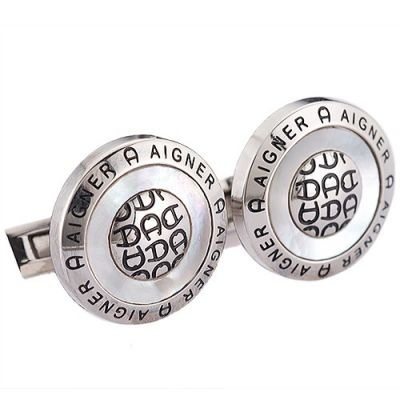Top Quality Men's Aigner Fashion Trend Black Carved Logo Round Delicate Silver Cufflinks