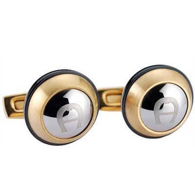 Best Sale Aigner Specular Surface Engraved Initial Logo Gold Round Cufflinks Latest Style
