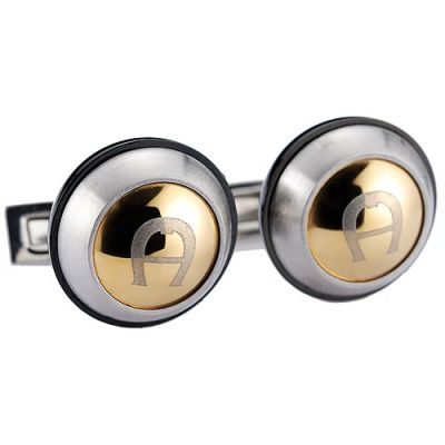 Aigner Hot Selling Round Carved A Logo Gold Cambered Surface Silver Cufflinks Good Quality