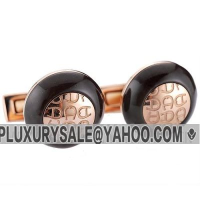 Top Sale Aigner Initial Engraved Logo Black Wood Cufflinks With Rose Gold Specular Surface Male