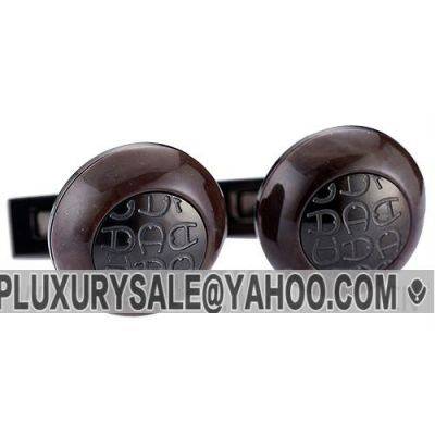 Replica Aigner Most Fashionable Engraved Iconic Logo Brown Wood Cufflinks With Cambered Surface