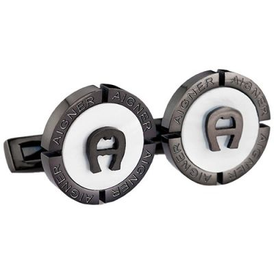Hot Selling Aigner Black And White Round Logo Chic Cufflinks Christmas Gift Stylish Style Male