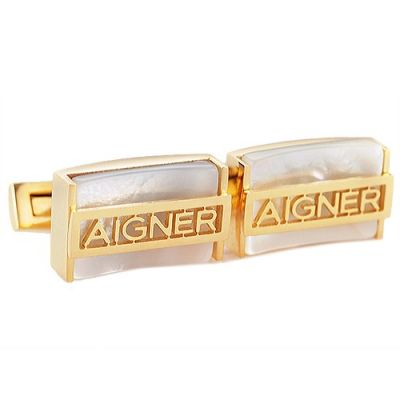 2017 Hot Sale Aigner Latest Style Gold Initial Logo Cubic Business Cufflinks Best Gift For Men