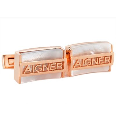 AAA Quality Aigner Rose Gold Elegant Cuboid Logo Men's Cufflinks For Formal Occasions