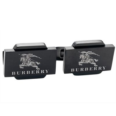 Burberry Hot Sale Chic Black Logo Pattern Men's Cufflinks Cubic For Formal Occasions