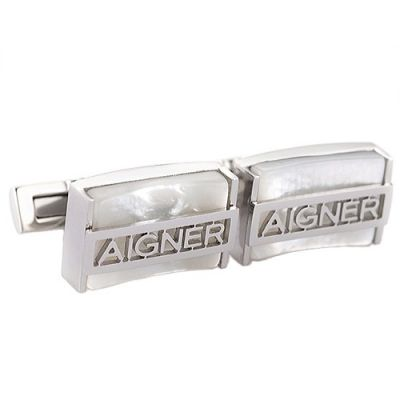 Fashionable Aigner High Quality Cubic Silver Carved Logo Business Crystal Glass  Cufflinks