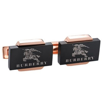 Latest Style Men's Burberry Cubic Logo Pattern Cufflinks Rose Gold And Black Business Style