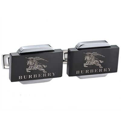 Fake Burberry Silver And Black Cubical Men's Business Cufflinks Office Style Logo Pattern