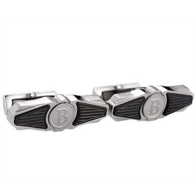 Best Quality Fake Breitling B Logo Cubic Cufflinks Black And Silver Wing Shape For Male