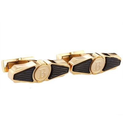 Fashionable Men's Breitling Gold And Black Logo Elegant Cufflinks With Wing Shape