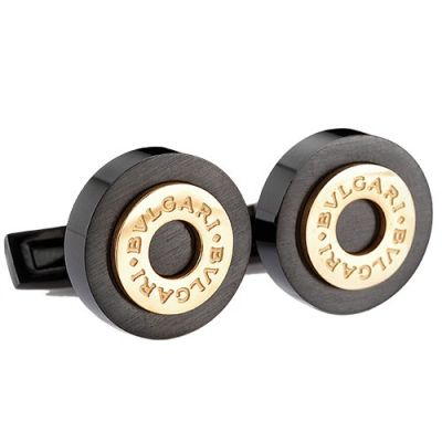 Top Quality Men's Bvlgari Round Gold Carved Center Black Cufflinks Office Style