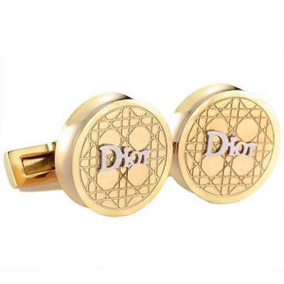 Fashionable Christian Dior Logo Round Gold Cufflinks Formal Occasions Carved Cannage Pattern