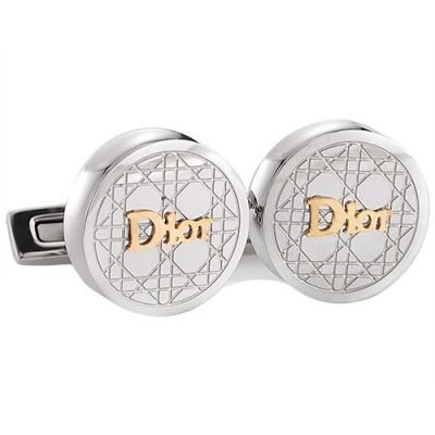 Christian Dior Stylish Style Gold Logo Cannage Engraved Pattern Silver Round Cufflinks Male
