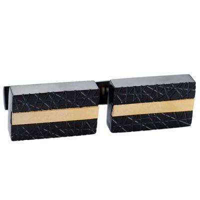 Most Popular Cartier Office Style Men's Black And Gold Engraved Cufflinks Christmas Gift
