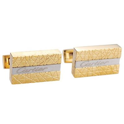 Top Sale Cartier Formal Occasions Gold And Sliver Men's Cubical Cufflinks Carved Logo Center