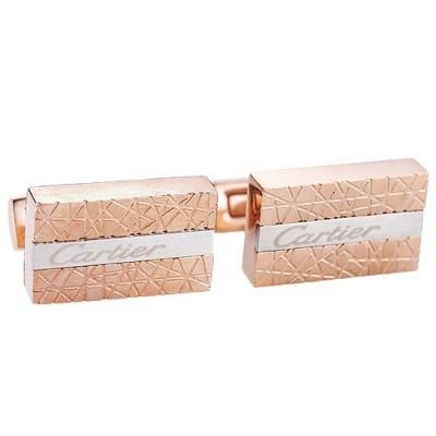 Fashionable Cartier Silver Logo Center Elegant Style Rose Gold Engraved Cufflinks Male