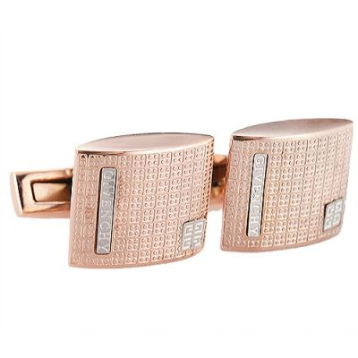 Cheapest Givenchy Silver Logo Formal Occasions Arched Surface Rose-Gold Cufflinks