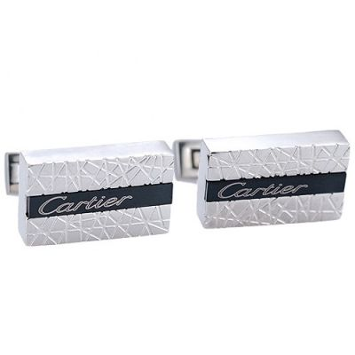 2017 Hot Selling Men's Cartier Cubical Black And Silver Cufflinks Trendy Style Carved Logo Center