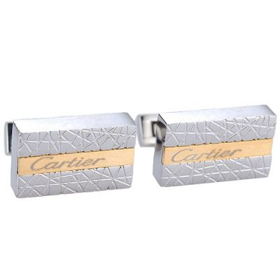 Cartier Most Popular Gold Engraved Logo Center Business Silver Cubic Cufflinks For Men
