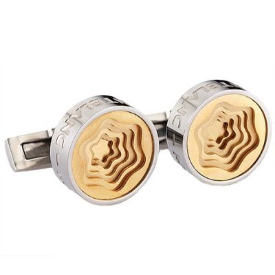 Best Christmas Gift Montblanc Stylish Gold Carved Flower-Shaped Pattern Silver Round Cufflinks