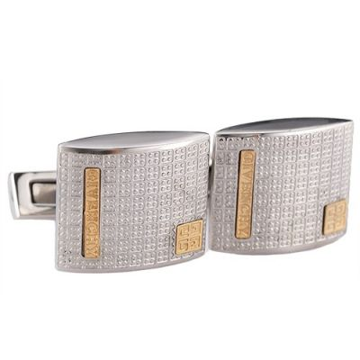 Latest Style Men's Givenchy Silver Cufflinks With Gold Engraved Logo Raised Surface