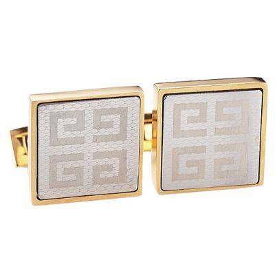AAA Quality Office Style Givenchy White Logo Cubic Gold Cufflinks For Men