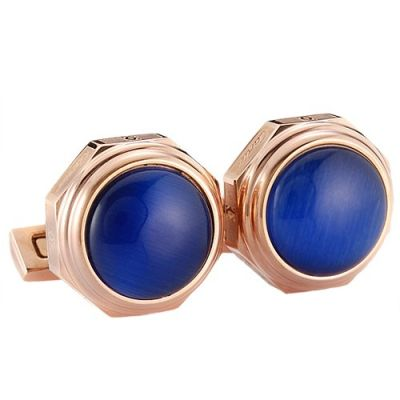 Santos De Cartier Delicate Rose Gold Cufflinks With Blue Raised Surface For Men & Women