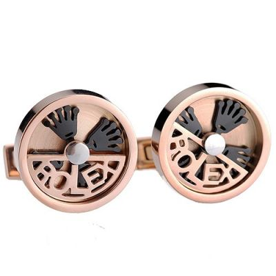 Latest Style Rolex Circular Designer Rose-Gold Men's Delicate Cufflinks Logo Cutwork