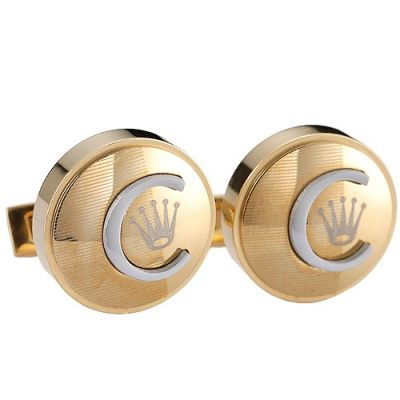 Rolex Newest Style Round Gold And Silver Emblem Pattern Most Quality Cuff Buttons