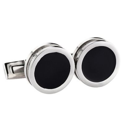 Top Sale Hugo Boss Delicate Silver And Black Round Cuff Buttons For Men