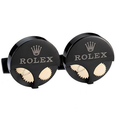 Top Sale Men's Rolex Black Circular Cufflinks Gold Movement Gears Logo Engraved Office Style