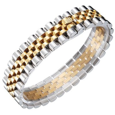 Rolex Jubilee Crown Symbol Gold And Stainless Steel Stretch Link Bracelet Businessmen Jewelry Christmas Gift