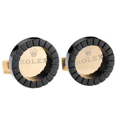Best Quality Rolex Formal Occasions Engraved Circular Black Sleeve Buttons Logo Masculinity