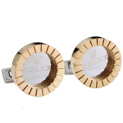 Cheapest Rolex Logo Nummular Gold Business Style Engraved Cuff Buttons Men And Women