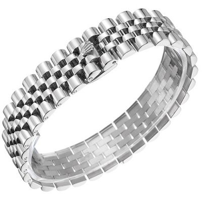 Rolex Jubilee Wide Design Black & Silver Two-Tone Cuban Link Bracelet Trendy Jewelry For Men