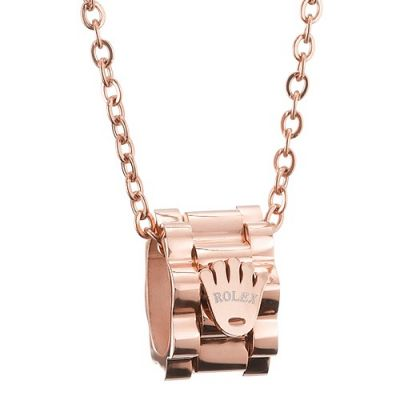 Rolex Rose Gold Plated Crown Sign Pendant Chain Necklace High-quality Wholesale Women Jewelry