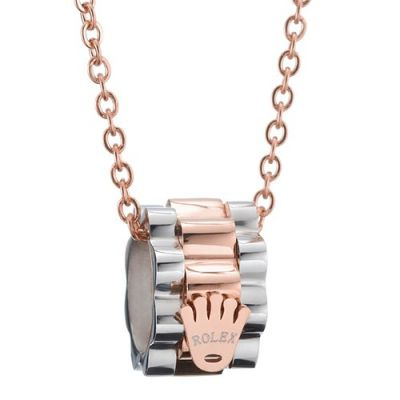 Rolex Crown Design Two Tone Pendant Rose Gold Plated Chain Necklace Personalised Jewelry For Lady