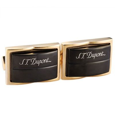 Most Popular S.T.Dupont Symbol Gold Sleeve Buttons Black Raised Surface For Men
